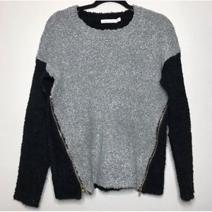 Bishop + Young Colorblock Boucle Side Zip Sweater